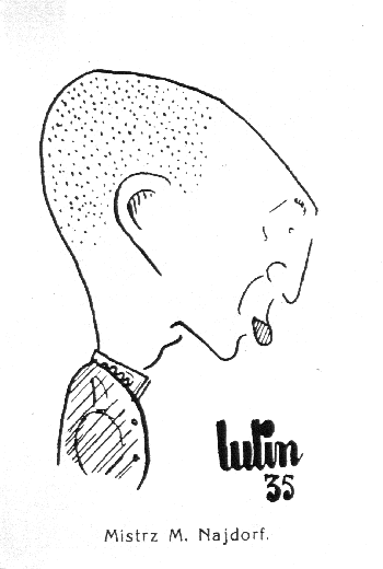 Najdorf jako szeregowiec WP w karykaturze Ludwika Lindenfelda.